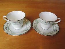 2 Cups With Saucers Agincourt Green Platinum Trim Wedgwood England R4471