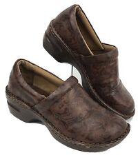 BOC Born Concept Women's Size 8.5 Clogs BROWN Tooled Leather Floral Shoes Nurse