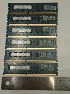 Lot of 6 2GB PC3-10600E DDR3-1333MHz ECC Unbuffered CL9 240-Pin Dual Rank DIMM