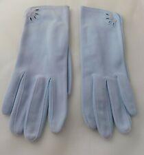 Vintage Pale Blue Cotton Knit Gloves Eyelet & Button Detail Sz. 5 1/2-6 G100