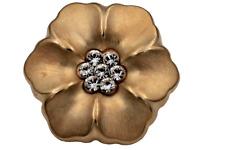 großer matt gold Metall Knopf Blüte Blume Form mit Glitzer Strass 25mm 1 Stück