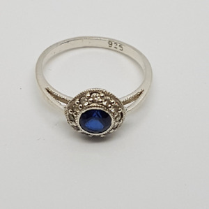 Vintage women's solid silver ring with synthetic sapphire or ruby & diamonds