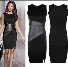 Lady Business Bodycon Patchwork Leatherette Black Celeb Mini Dress Sleeveless NR