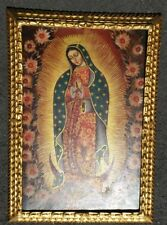 Peruvian Gilt framed oil on canvas virgin Our Lady of Guadalupe  peru folks art