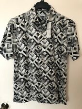 Tommy Bahama Men's Geo Lounge Silk Shirt Black Small