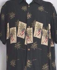 Hawaiian Aloha Shirt Bikini Girl Camp Poker Cards Sz M Rayon Palm Trees Black