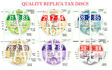 TAX DISCS.4 QUALITY REPLICAS FOR THE DISCERNING OWNER. ALL YEARS FROM 1921-2020i