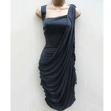Karen Millen Grey Drape Ruched Asymmetrical Column Jersey Cocktail Dress 12 UK