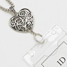 Designer Heart Elegant Scroll ID Badge Name Tag Key Holder Necklace Lanyard BIN