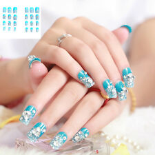 24 Pcs Faux Ongles Artificiels Manicure Autocollant Ongles Art Brillant Conseils