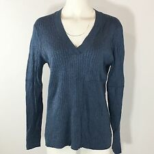 Chicos Fitted Sweater Womens XL Blue V Neck Ribbed Solid Long Sleeve