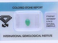 natürlicher 0,74 Karat Smaragd green IGI Expertise