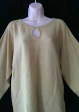 Cable & Gauge  Gold Sparkle Kimono Sleeve Keyhole Chest Knit Top NWT Large