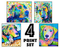Labrador Retriever Art Prints - Set of 4 - 8x10 inches - A Fun Dog Lover Gift!