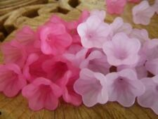 60 pce Frosted Pink & Purple Acrylic Bell Flower Beads 14mm x 10mm