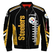 Pittsburgh Steelers Pilot Bomber Jacket Flying Tigers Flight Thicken Coat Gifts