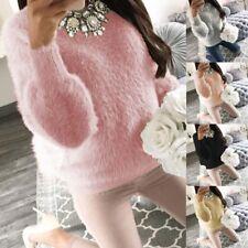 Womens Long Sleeve Fluffy Sweater Jumper Pullover Sweatshirt Fashion Sweat Top
