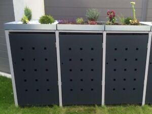 3er MÜLLTONNENBOX mit Pflanzdach für 3 Mülltonnen (240 Liter Mülltonnen)