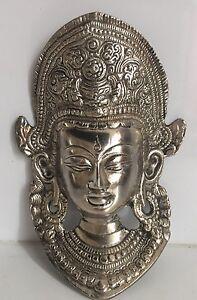 TIBETAN BUDDHA FACE Tara Devi 7.7''  Mask WALL Hanging Silver Shamanism Durga