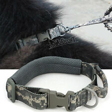 Tactical Dog Collar Handle Buckle Adjustable Training Dog Strap Ring Camo ACU