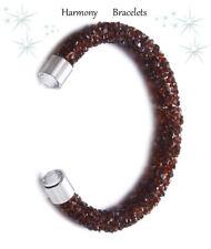 Brown Swarovski Elements Crystaldust Open Bangle by Harmony Bracelets