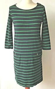 Striped Breton Jersey Dress Adrienne Vittadini Navy Blue Pockets Gold Buttons XS