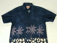 RJC Vintage Navy Blue Hibiscus Floral Palm Trees Aloha Hawaiian Shirt Mens L USA