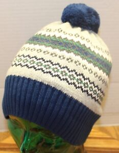 NWT GYMBOREE YOUTH WINTER KNIT HAT WITH POM SIZE SMALL BLUE/GREEN/GRAY