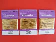 Fashion Accessories elastic gold tone thread, lot of 3, 10 yds each