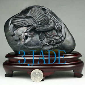 Black Nephrite Seed Jade Eagle Fish Statue Sculpture w. certificate 和田青花籽料