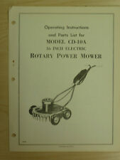 "WESTERN TOOL 16"" ELECTRIC ROTARY POWER MOWER INSTRUTIONS, PARTS MANUAL CD-10A"
