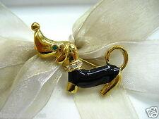 18k Gold Plate Dachshun Swarovski Element Austrian Crystal Rhinestone Brooch Pin