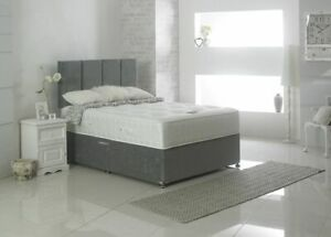 Upholstered Storage Draws Divan Bed Frame Base Headboard Pocket Sprung Mattress