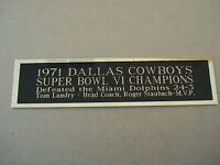 Dallas Cowboys Super Bowl 6 Nameplate for a Football Mini Helmet Case 1.25 X 6