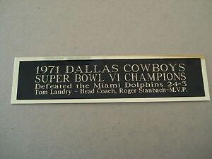 Dallas Cowboys Super Bowl 6 Nameplate for a Football Mini Helmet Case 1.5 X 6