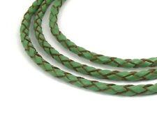 Lederband, 1 m, 3 mm, grün-braun