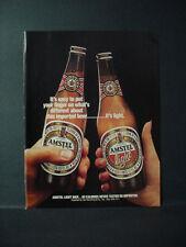 1985 Amstel + Amstel Light Beer Imported from Holland Vintage Print Ad 10961