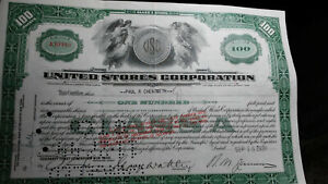 UNITED STORES STOCK CERTIFICATE FROM THE 1930s
