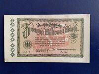 GERMANY - 20 MILLION MARK RAIL BANKNOTE 1923-INFLATION - VERY FINE