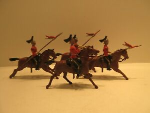4 pc British Toy Soldiers No 44 The Queens Bay 2nd Dragoon Guard Early 1930s