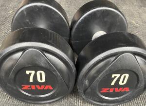 Ziva SL 70 lb Rubber Dumbbell Pair