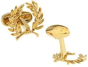 Men's Cufflinks Gold Tone Oympic Laurels Champion Laurel Crown Cuff Links