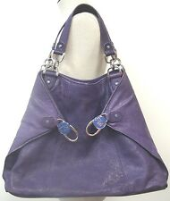 TED BAKER TOTE PURSE LARGE COLLAPSABLE SIZE W/AMAZING SILVER TONE HARDWARE EUC