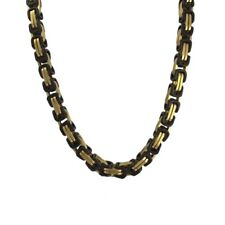 Two Tone Stainless Steel Gold and Black PVD Byzantine Box Chain for Men