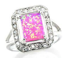 Sterling Silver Pink Fire Opal White CZ Zircon Ring Size 7 #422