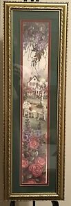 Glynda Turley Framed Print '92 Cottage Lawn Furniture Floral Purple Mauve Yellow