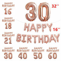 Rose Gold Happy Birthday Bunting Banner Balloons 18/21st/30/40/50/60th Decor vi
