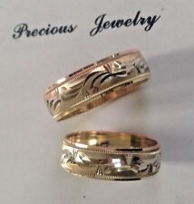14K SOLID TRICOLOR GOLD HIS AND HER WEDDING BAND RING SET SZ 5-13 FREE ENGRAVING