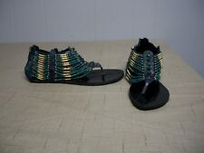 NIB PASSIONS Indian Blue Turquoise Tan Gold Beads Gladiator Sandals Shoes Sz 7