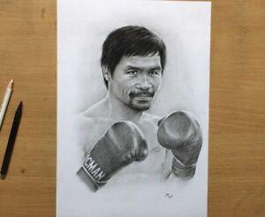 Manny Pacquiao Original Charcoal Drawing - Pencil Portrait Art - Boxing